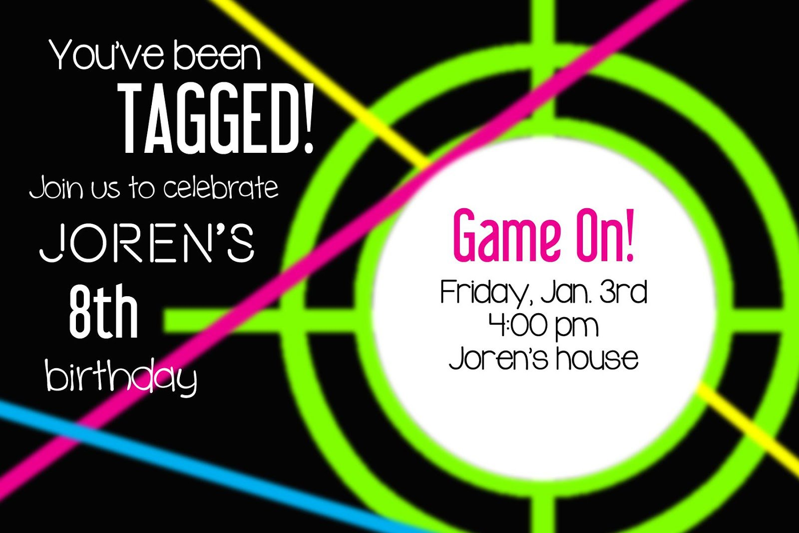 Laser Tag Party Invitation Template Free