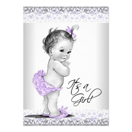 Lavender Butterfly Baby Shower Invitations
