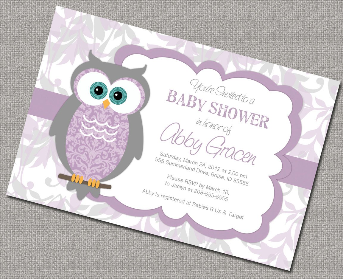 Lavender Owl Baby Shower Invitations