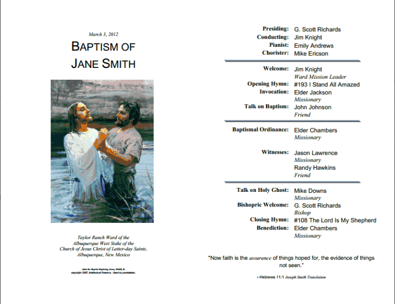 Lds Baptism Invitations Templates
