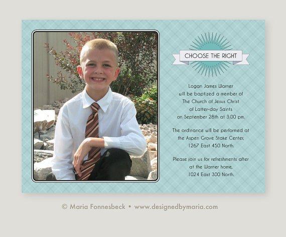 Lds Boy Baptism Invitations