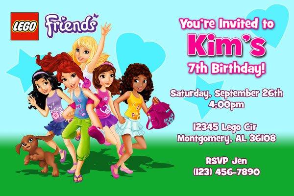 Lego Friends Birthday Invitations