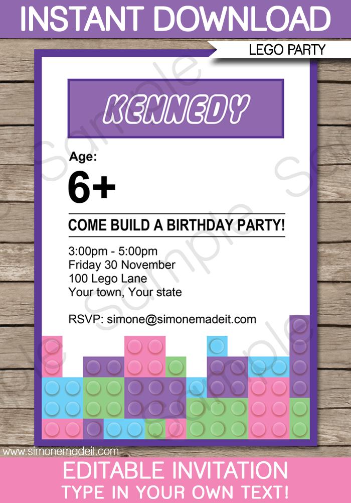 Lego Friends Birthday Invitations Free Printable
