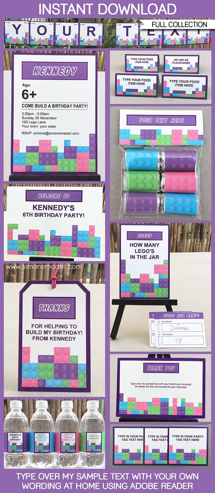 lego friends birthday invitations printable