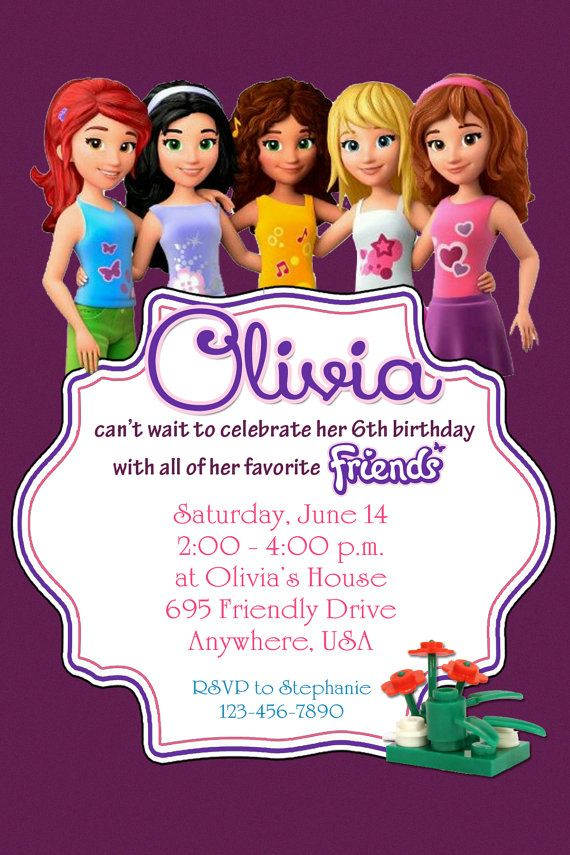 Lego Friends Invitations