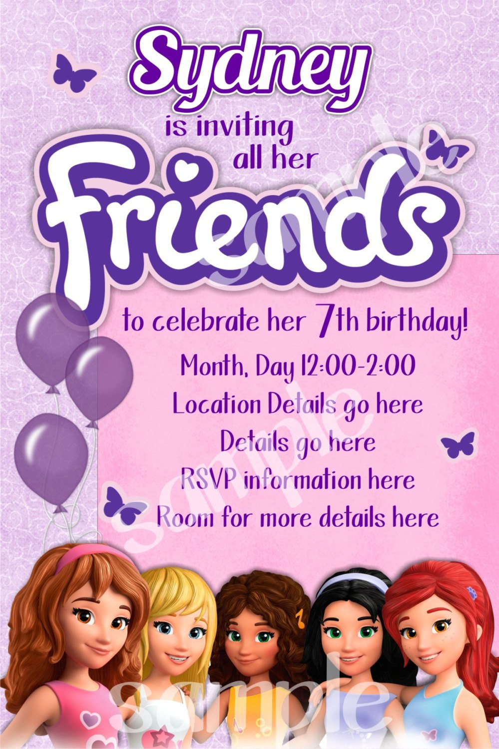 Lego Friends Invitations Free