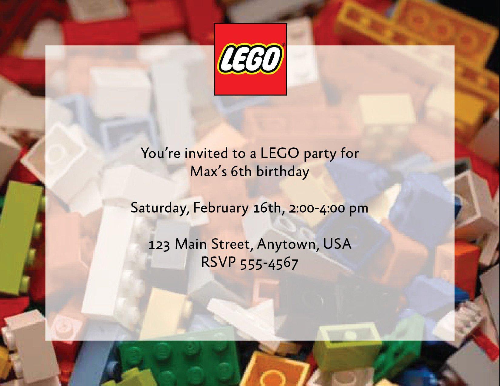 Lego Party Custom Invitations