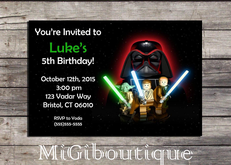 Lego Star Wars Personalized Birthday Invitations