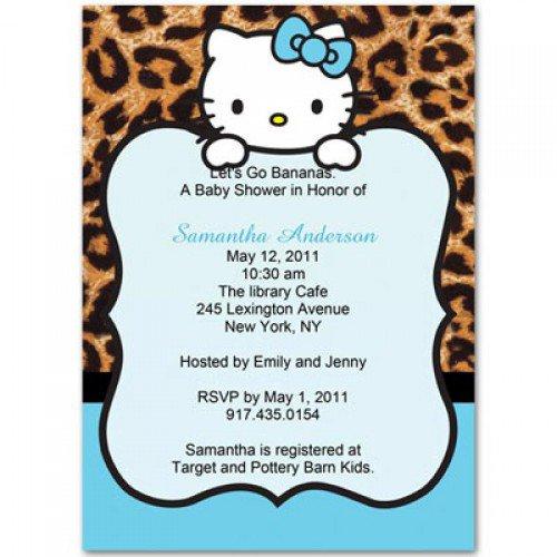 Leopard Hello Kitty Invitations