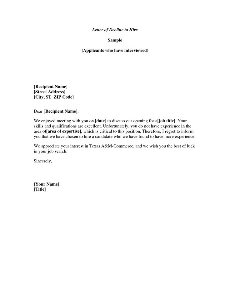 Letter Declining An Invitation Examples