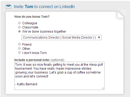 Linkedin Invitation Message Example