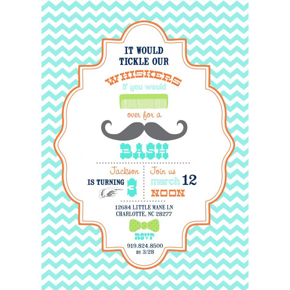 Little Man Mustache 1st Birthday Party Invitations