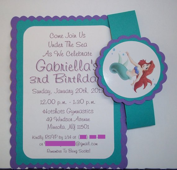 Little Mermaid 1st Birthday Invitations