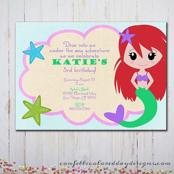 Little Mermaid Birthday Invitation Cards