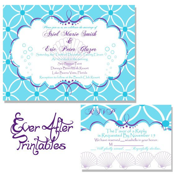 Little Mermaid Inspired Wedding Invitations