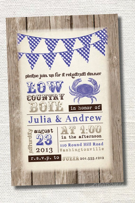 Low Country Boil Engagement Party Invitations