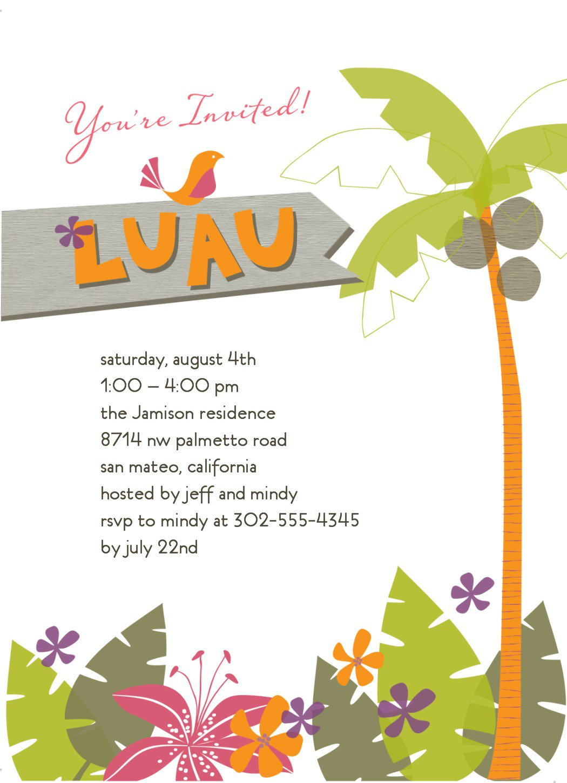 Luau Borders For Invitation