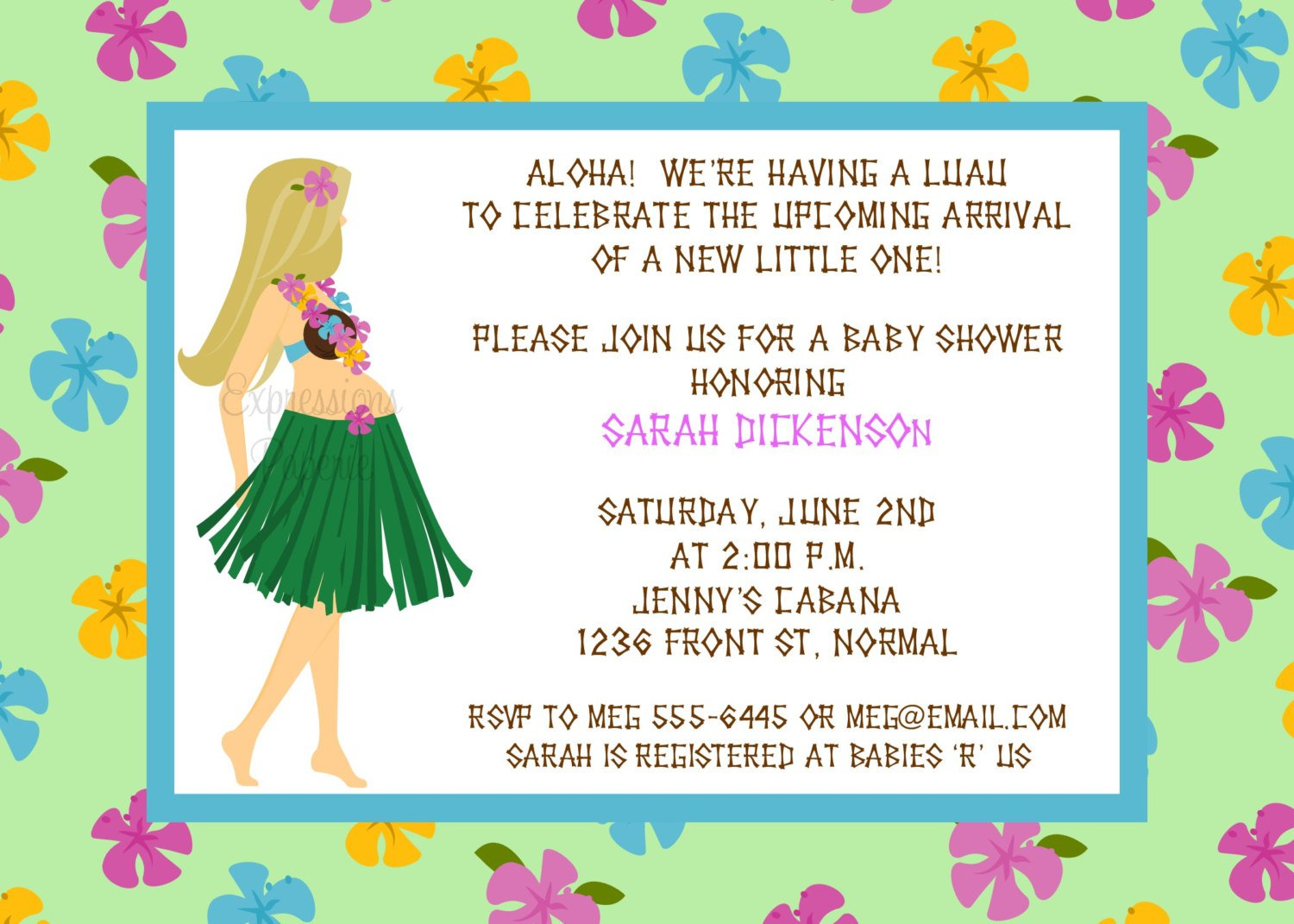 Luau Bridal Shower Printable Invitation Templates Free