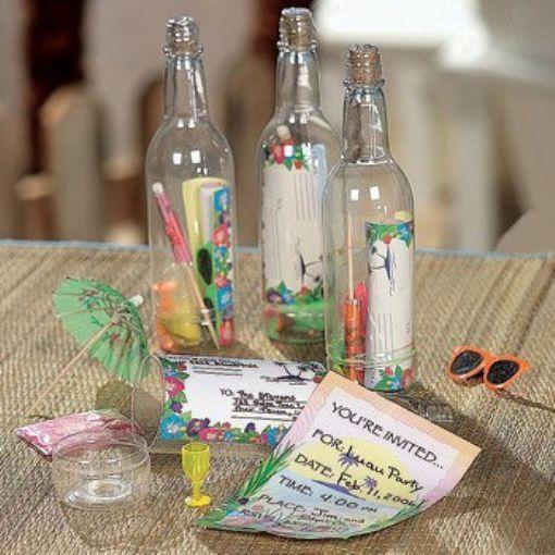 Luau Invitations Bottle