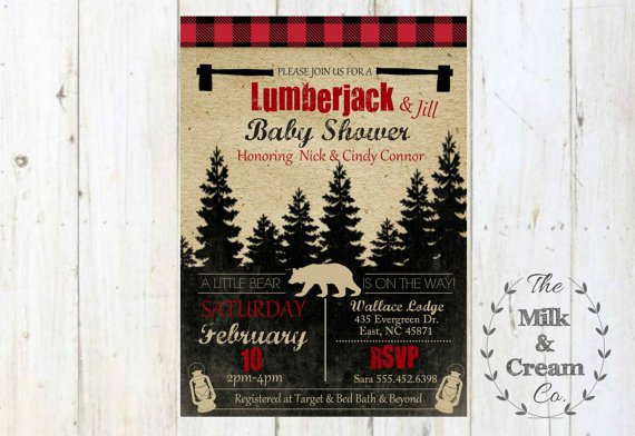 Lumberjack Baby Invitations