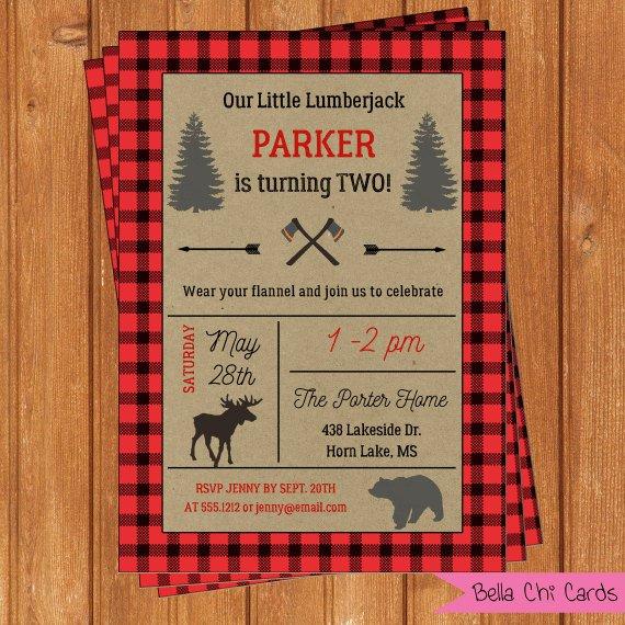 Lumberjack Birthday Party Invitations