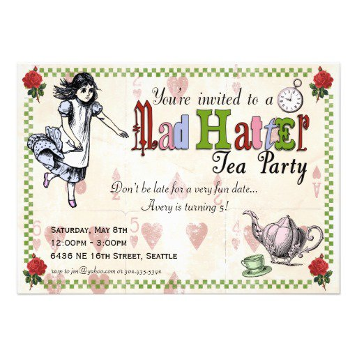 Mad Hatter Party Invitations