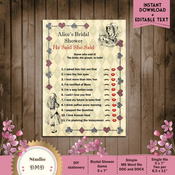 Mad Hatter Wedding Shower Invitations