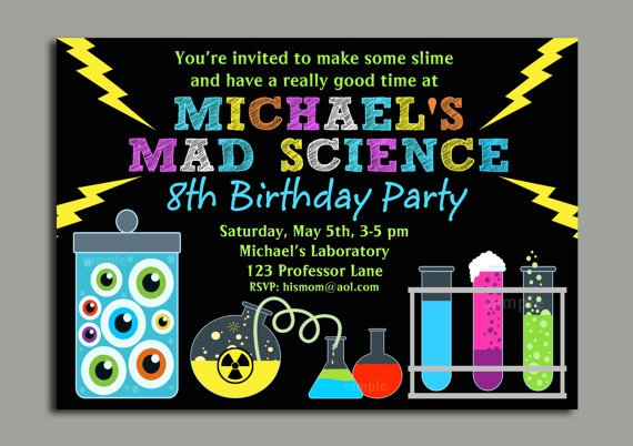 Mad Science Party Invitation Wording