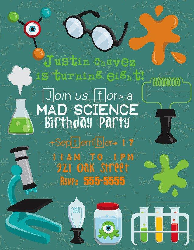 Mad Scientist Birthday Party Invitation Wording