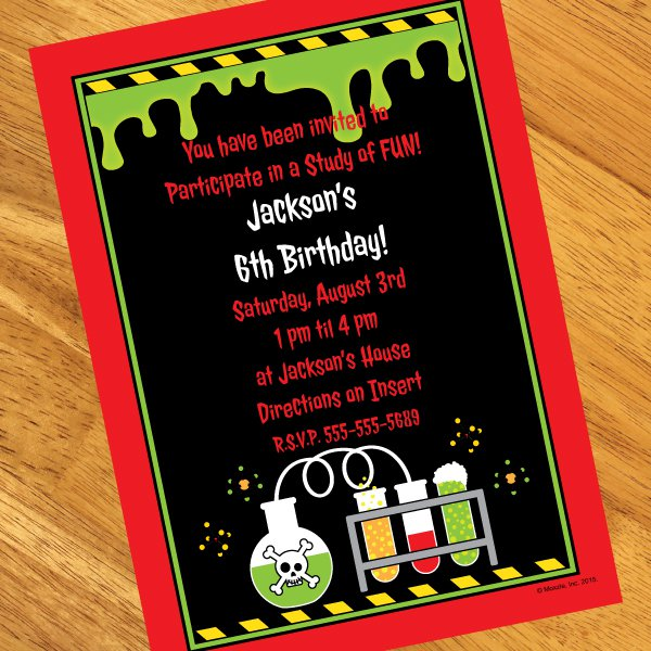 Mad Science Party Invitations