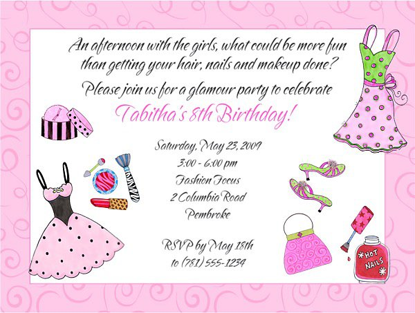 Makeover Birthday Party Invitation Wording