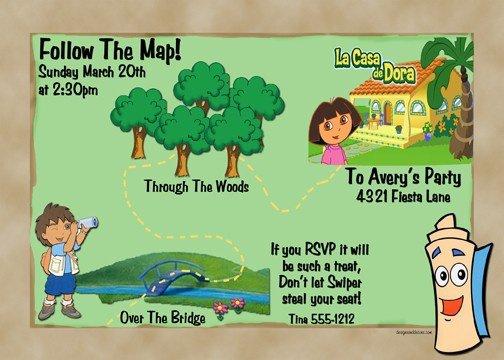 Maps Dora Invitation Ideas