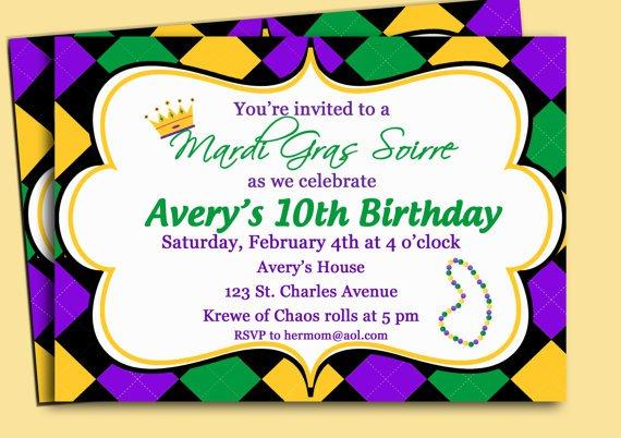 Mardi Gras Invitations Templates Printable