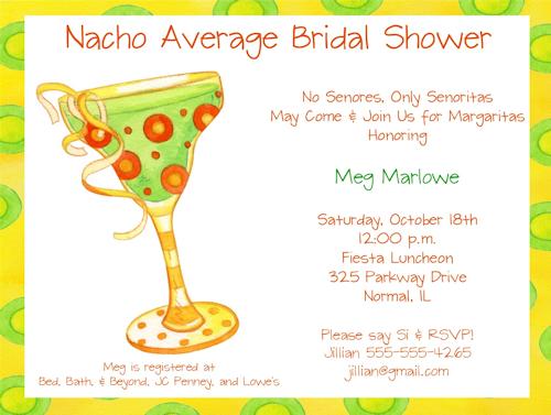 Margarita Themed Bridal Shower Invitations