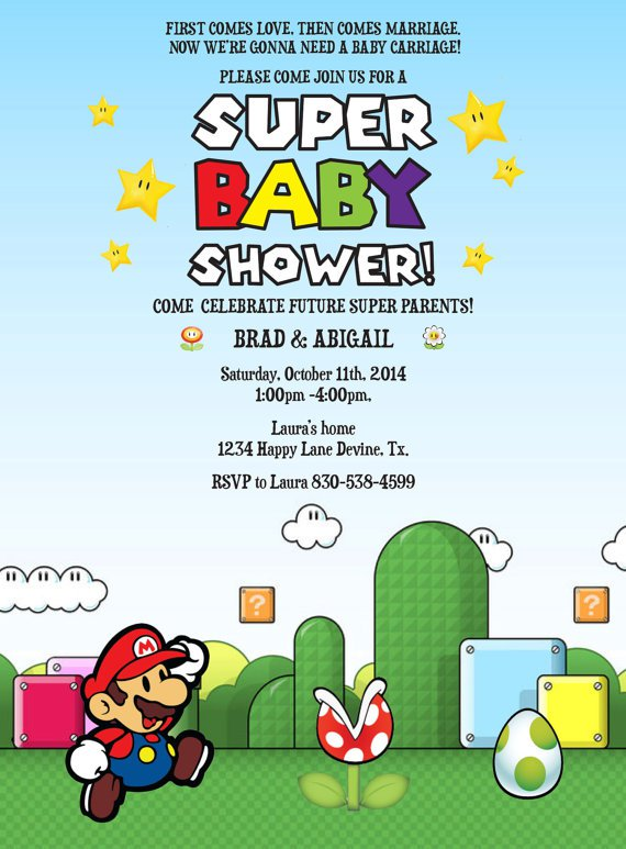 Mario Baby Shower Invitation