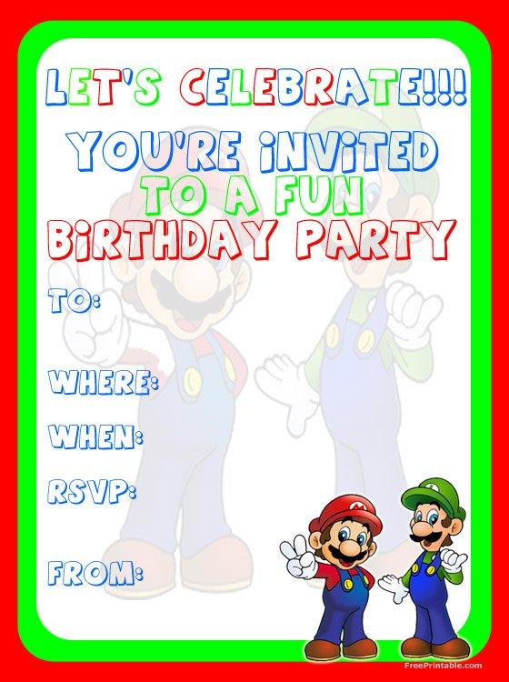Mario Party Invitations