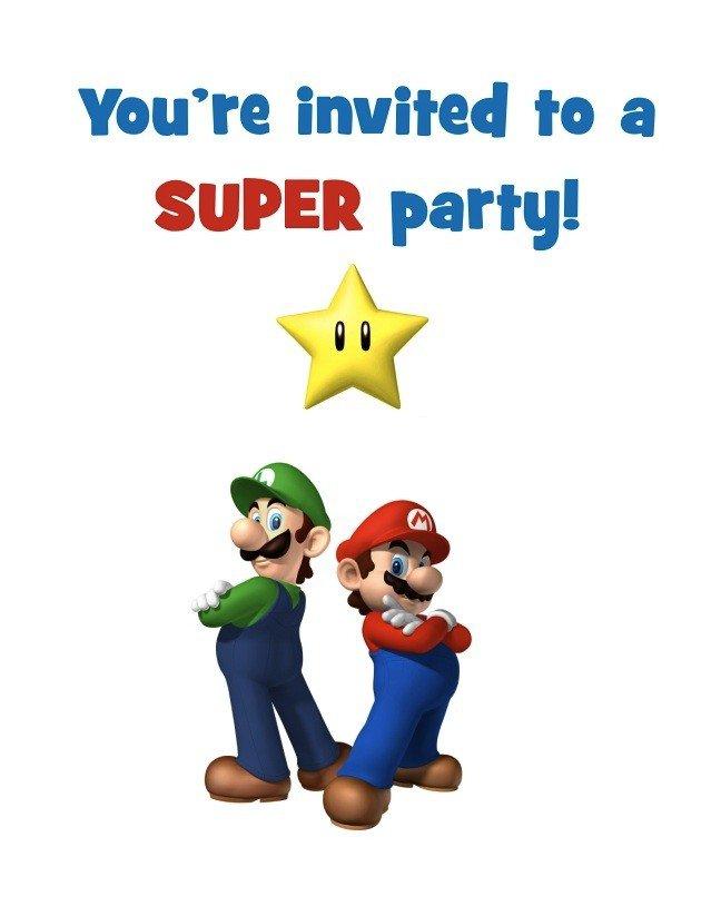 Mario Party Invitations Free