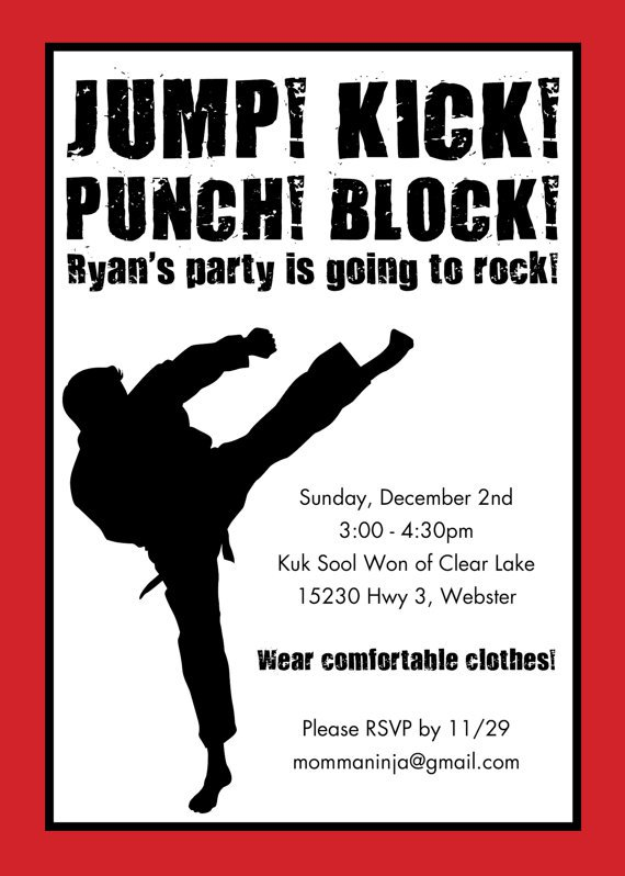 Martial Arts Birthday Invitations