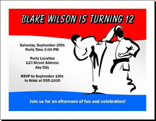 Karate Birthday Party Invitations – Martial Arts Birthday Invitations