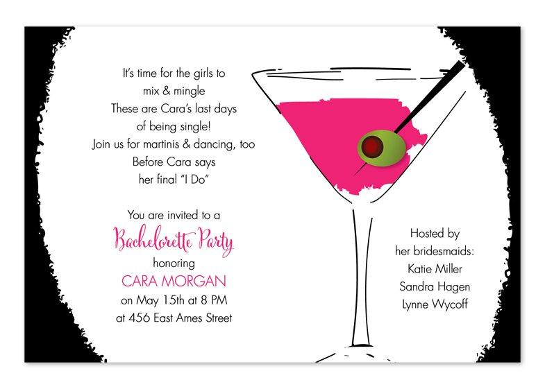 Martini Birthday Party Invitation Wording