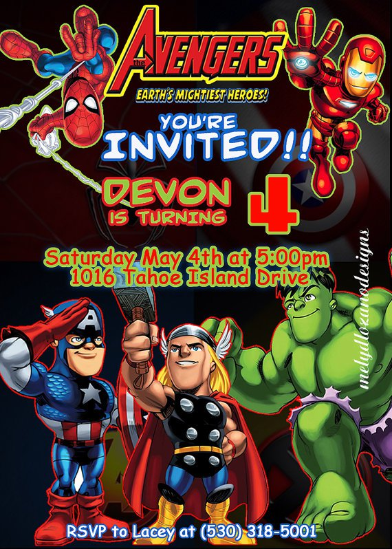marvel avengers birthday invitations