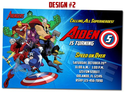 Marvel Avengers Party Invitations