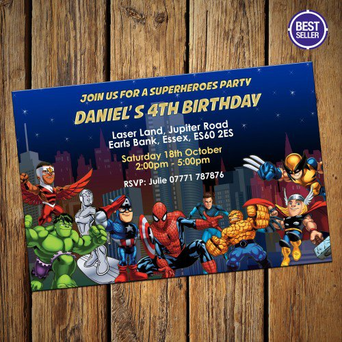 Marvel Avengers Birthday Invitations - Birthday party invitation uk