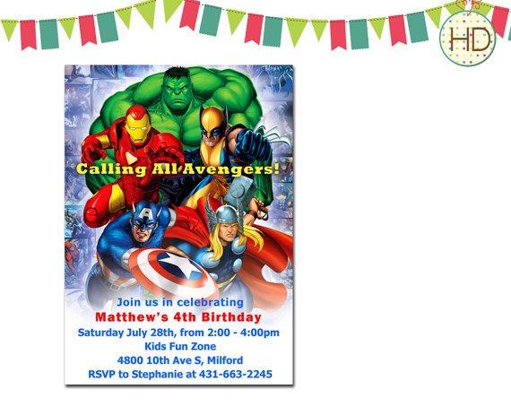 Marvel Personalized Invitations