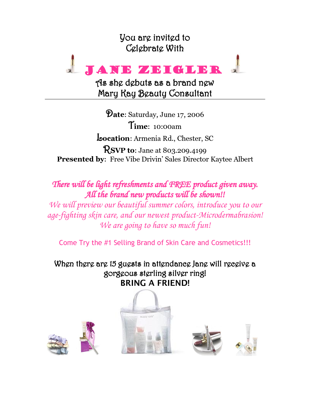 Mary kay debut party invitations for Mary kay invite templates