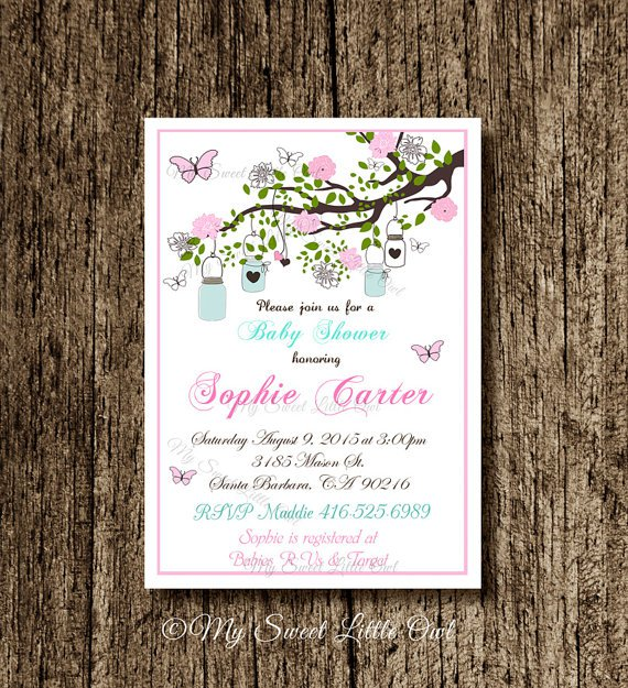 Mason Jar Baby Shower Invitations Etsy