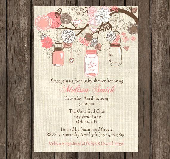 Mason Jar Baby Shower Invitations Etsy