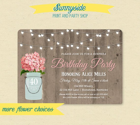 Mason Jar Birthday Party Invitations