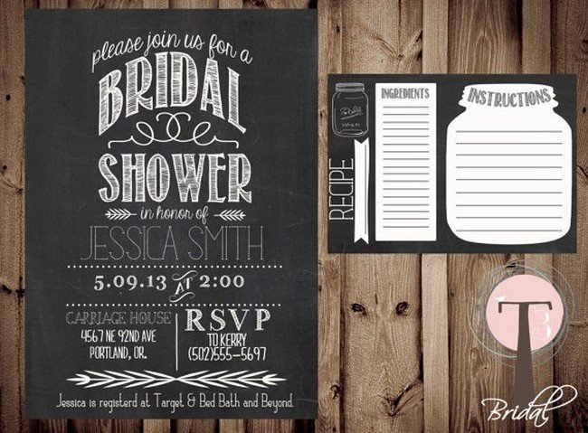 Mason Jar Bridal Shower Invitations With Recipe Cards