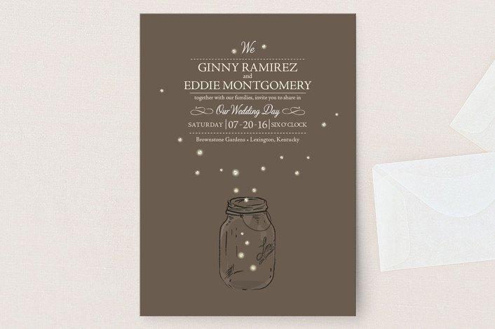 Mason Jar Firefly Wedding Invitations
